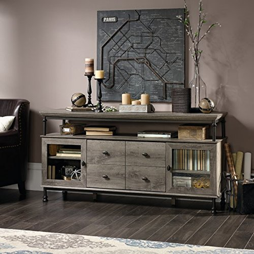 """60"""" Entertainment Center, Large Shelf with Built-in USB Ports, Full Extension Drawers, Adjustable Shelf Behind Each Door, Ample Storage Space, Sturdy Engineered Wood Construction, Northern Oak Finish"""