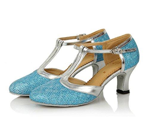 Strap Tango Samba T Shoes Women's Doris Shoes Toe Salsa Latin Blue Ballroom Dance Glitter Close Dress qP4Ww5E