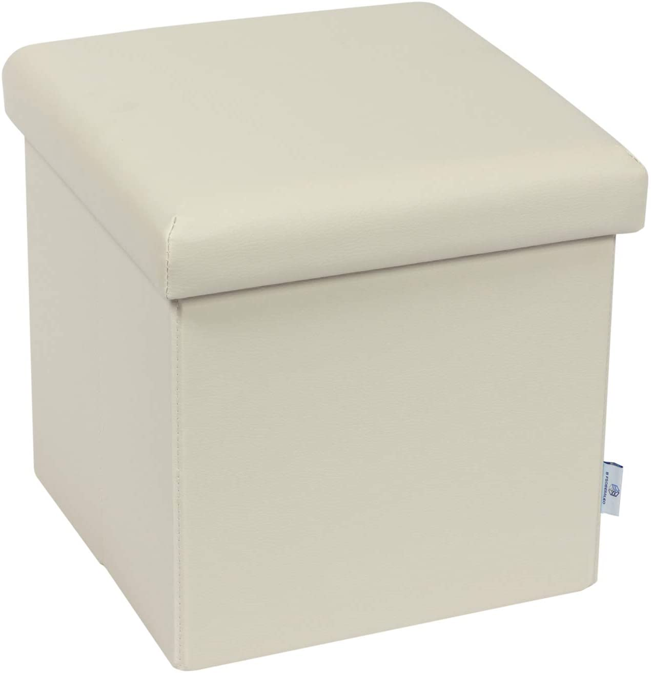 "B FSOBEIIALEO Folding Storage Ottoman Cube with Faux Leather Toy Chest Footrest for Baby Beige 11.8""x11.8""x11.8"""