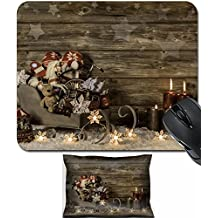 MSD Mouse Wrist Rest and Small Mousepad Set, 2pc Wrist Support design 30558852 Old children toys and four red burning advent candles on wooden vintage background for decoration