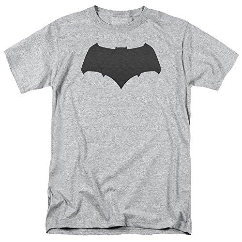 Trevco Men's Batman v Superman Short Sleeve T-Shirt, Logo Athletic Heather, -
