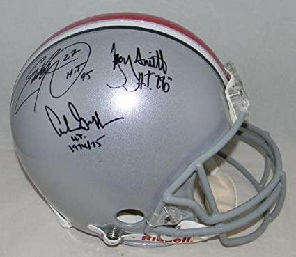 0a27ba51ff7 Eddie George Archie Griffin Troy Smith Signed Ohio State Heisman Proline  Helmet - Autographed College Helmets
