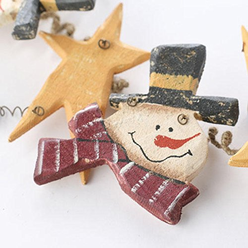 30 inch long Rustic Wood Snowman and Yellow Folk Star Holiday Garland