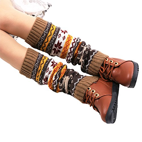 [Oksale Women Elk Deer Snowflake Crochet Knitted Boot Cover Socks Leg Warmers (Khaki)] (Girl Deer Hunter Costume)