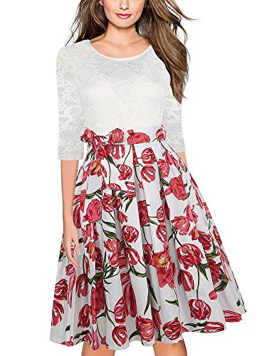 Oxiuly Women's 3/4 Sleeve Patchwork Floral Lace Casual Work Cocktail Party Dress OX252 (L, Pink)