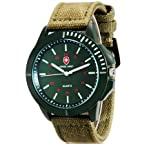 SWISS ARMY Men's Round Dial Dual Military Analog Quartz Wrist Watch with Luminous Function & Oxford Band (Green)