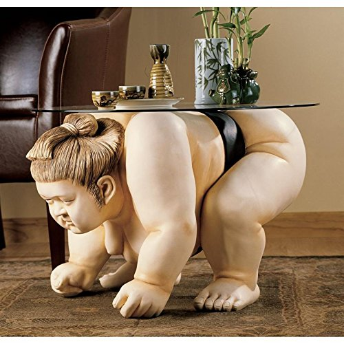Round Bonded Glass Top Table - Design Toscano Basho the Sumo Wrestler Sculpture End Table