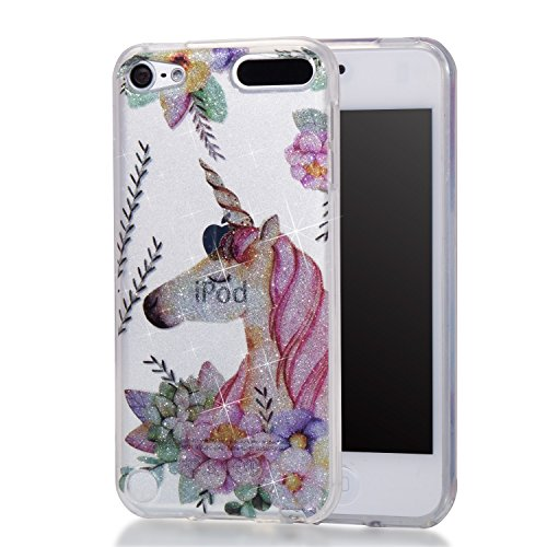 Price comparison product image iPod Touch 6,iPod Touch 5,DAMONDY Cute Animal Flowers Glitter Bling Ultra Thin Slim Back Skin Clear Design Full Body Protective TPU Bumper Cover Case Phone Cover For iPod touch 5 6th-unicorn
