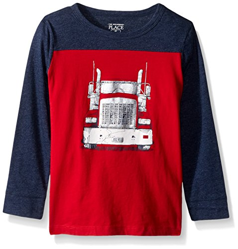 The Childrens Place Baby Boys Long Sleeve Graphic Tee  Tango Red  12 18Mos