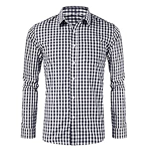 LOMON Men's Plaid Shirt German Bavarian Oktoberfest Long Sleeve Slim Fit Classical Shirt