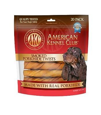 "AKC Porkhide Twists Smoked - 20 Pack - Medium (6"") by Pet Brands Inc."