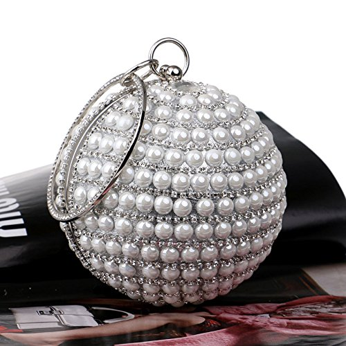 Party Handbag Wedding KELAND White Evening Bling Round Shape Beaded Rhinestones Purse Bag Clutch Women's aagvqw6xTS
