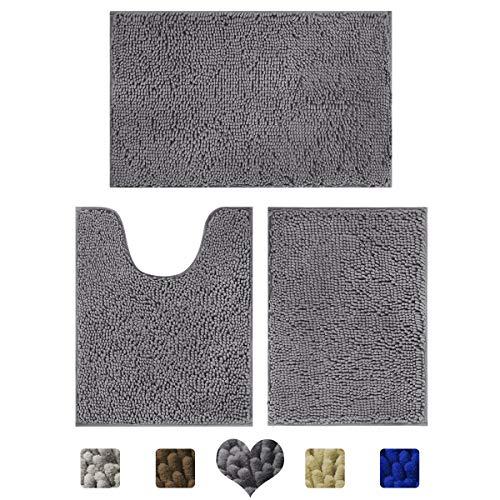 HOMEIDEAS 3 Pieces Bath Mats for Bathroom, Luxury Soft Microfiber, Absorbent Shaggy Rugs & Slip Resistant Plush Carpets Mats Deep Gray