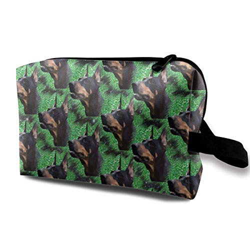 Doberman Pinscher Face Large Travel Cosmetic Pouch Bag Storage Bags Portable With Zipper