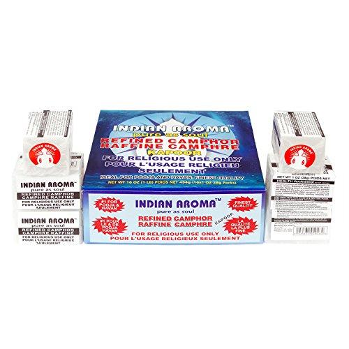 Box of Camphor 16 Blocks(64 Tablets)-Indian Aroma (Made in India) - 1 Lb.-Guaranteed 100% Pure
