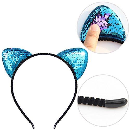 8 Pcs Sequin Ears Hair Hoops Shiny Hairband Glitter Cat Ear Headbands Girls