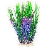 Jardin Fish Tank Artificial Water Grass Plants Décor, 10.5-Inch High, Green/Purple