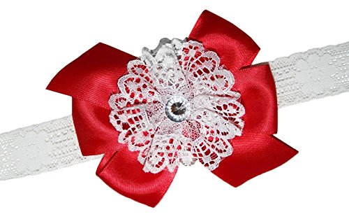 - WD2U Baby Girls Vintage Satin & White Lace Hair Bow Headband Red 10071HB