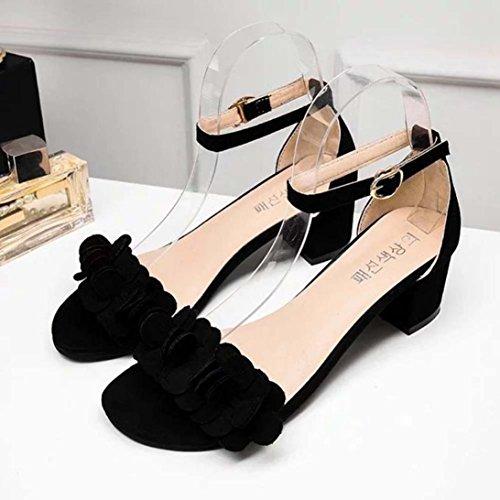 WINWINTOM Womens Ladies Block High Heel Sandals Flowers Adorn Buckle High Heels Shoes Black Ewe4ErR