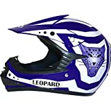 Leopard LEO-X17 KIDS MOTOCROSS HELMET Children Quad Dirt Bike Crash Motorbike ATV Helmet - Blue/White M (51-52cm)