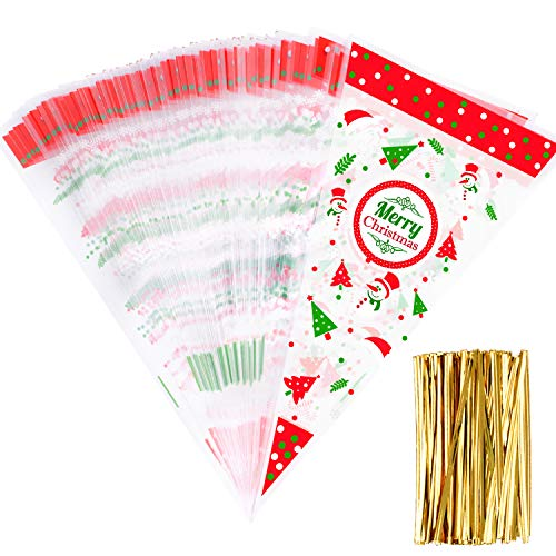 Whaline 100 Pieces Christmas Cone Bags Clear Cone Bags Popcorn Bag with 100 Gold Twist Ties for Christmas Party Candy Gifts Supplies and Festival Favor ()