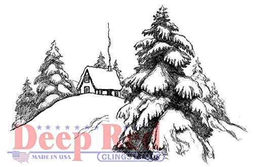 Deep Red Rubber Stamp Rustic Mountain Log Cabin Scene Snowey Pines Pine Trees Pine Rubber Stamp