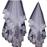 1.5M Elegent Simple Lace Appliques Wedding Veil One Size White Ivory Bridal Veil