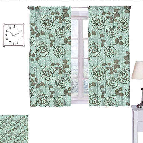 WinfreyDecor Floral Room Darkening Curtains for Bedroom Romantic Season Inspirations with Roses Birds on Tree Branches Summer Design Wall Curtain Seafoam Sage Green W55 x L63