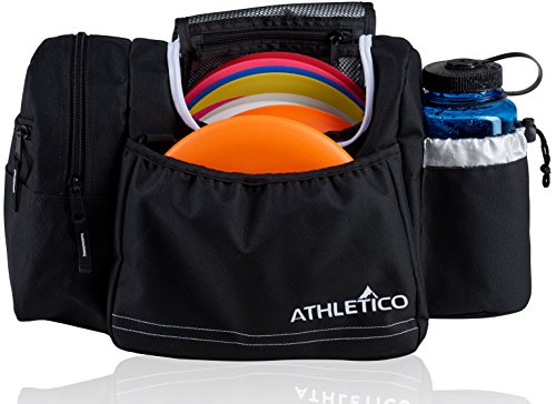 Athletico Disc Golf Bag - Tote Bag For Frisbee Golf - Holds 10-14 Discs, Water Bottle, and Accessories (Black) Golf Pack Cooler