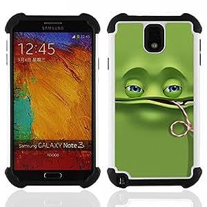 """SAMSUNG Galaxy Note 3 III / N9000 / N9005 - 3 en 1 impreso colorido de Altas Prestaciones PC Funda chaqueta Negro cubierta gel silicona suave (Divertido de la rana verde"""")"""