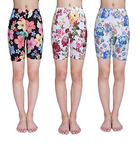 IRELIA 3 Pack Girls Bike Shorts Print Underwear for School Size 6-16 03 L