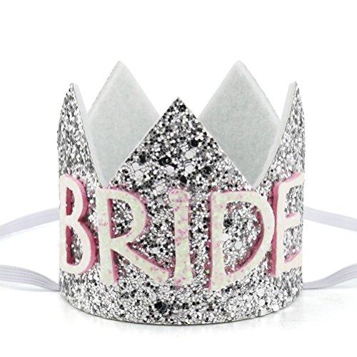 Elastic Glitter Bridal Shower Crown Mini Crown Headband Bachelorette Party Princess Hair Accessories-Silver -