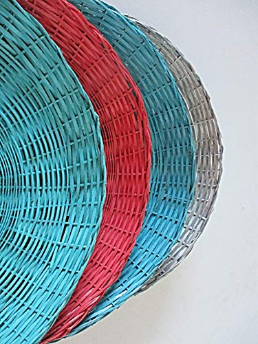 Four Wicker Paper Plates Holders, Upcycled, Picnics, Outdoor Dining, Beach Parties, Pool Parties, Outdoor Entertainment, Ding, Al Fresco, BBQ Parties Alfresco Home Bar Set