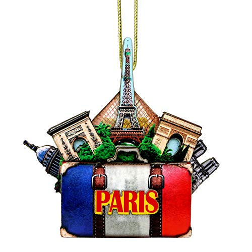 Paris Christmas Ornament 4 Inch Double Sided 3D Eiffel Tower Christmas Ornament with Notre Dame