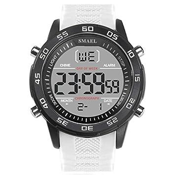SMAEL serie Digital Relojes de pulsera Hombres retroiluminación LED blanco electrónico reloj lujo famoso Big esfera