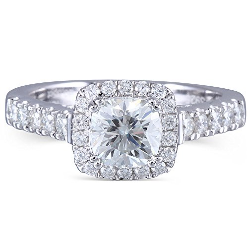 DOVEGGS 1.65CTW Diameter 6mm H Color 2.6mm Band Width Cushion Cut Moissanite Engagement Ring Solitare with Accents Platinum Plated Silver