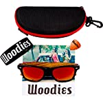 Woodies Zebra Wood Sunglasses with Mirror Polarized Lens for Men and Women 12 Handmade from REAL Zebra Wood (50% Lighter than Normal Sunglasses) Includes FREE Carrying Case, Lens Cloth, and Wood Guitar Pick Polarized Lenses Provide 100% UVA/UVB Protection