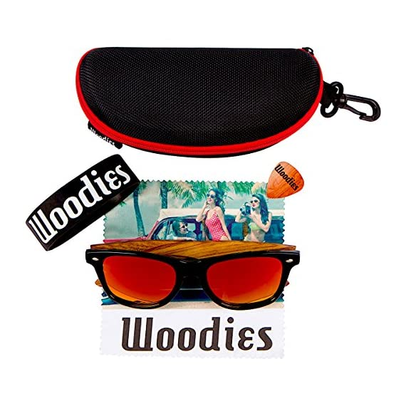Woodies Zebra Wood Sunglasses with Mirror Polarized Lens for Men and Women 3 Handmade from REAL Zebra Wood (50% Lighter than Normal Sunglasses) Includes FREE Carrying Case, Lens Cloth, and Wood Guitar Pick Polarized Lenses Provide 100% UVA/UVB Protection