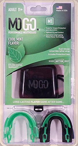 MOGO M1 Sport Mint Mouth Guard 2 Pack - Adult Size Ages 11 & Up - Works Best for Sports Like Football, Hockey, Basketball, Wrestling, Boxing & Softball - Made in America