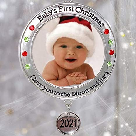 My First Christmas Ornament 2021 Amazon Com Banberry Designs Baby S First Christmas 2021 Photo Xmas Ornament I Love You To The Moon And Back Picture Opening For Babies Baby Keepsake Ornaments Home Kitchen