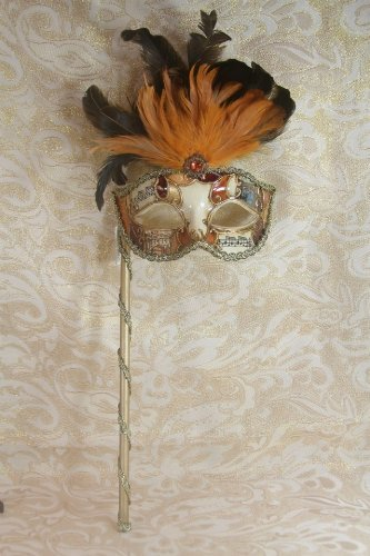 Room Ball Mask (Mysterious Musical Mardi Gras Venetian Masquerade Mask W/black Orange Feathers & Stick by)