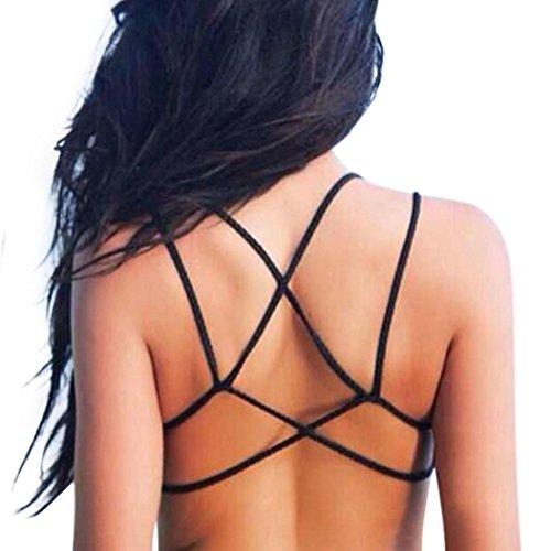 BEAUTYVAN Sexy Underwear Women Crop Tops Strap Vest Cut Out Shirt (Black)