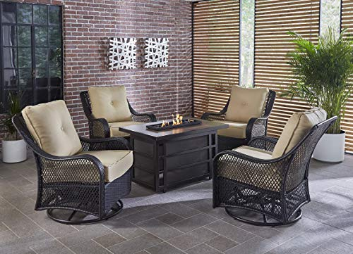 Hanover Orleans 5-Piece Steel Outdoor Patio Fire Pit Set 4 Swivel Gliders, Sahara Sand Tan Cushions and Rectangular Porcelain Tile Fire Pit, ORL5PCSW4RECFP-TAN