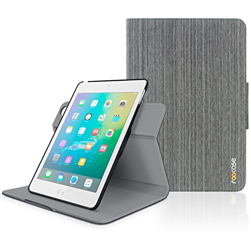 iPad Mini 3 Case, roocase Orb Folio iPad Mini Leather Case Smart Cover with Sleep/Wake Feature for Apple iPad Mini 3 2 1, Canvas Gray - Patented Complete Lifestyle Solution