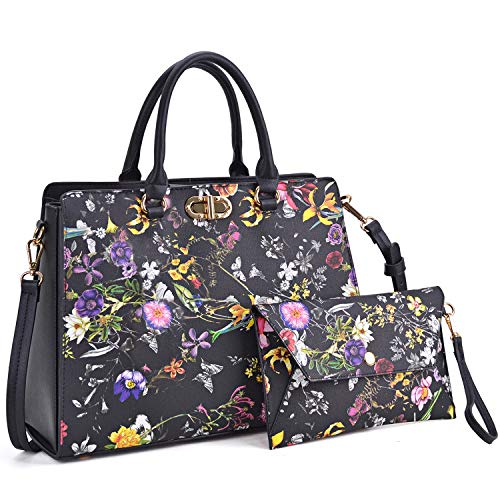Dasein Women Fashion Handbags Tote Purses Shoulder Bags Top Handle Satchel Purse Set 2pcs Black Flower
