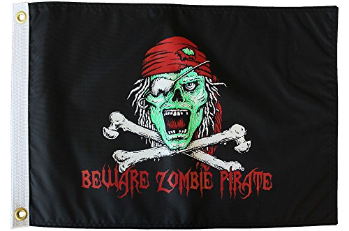 Zombie Pirate - 12 in x 18 in Nylon Pirate Flag ()