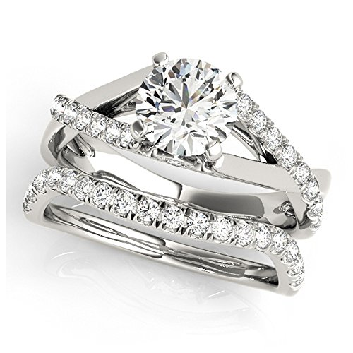 14K White Gold Unique Wedding Diamond Bridal Set Style MT50944