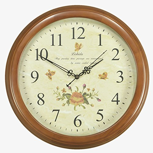 Stylish, Silent wallEuropean Solid Wood Mute Creative Wall Clock Living Room Restaurant Clock Nordic American-Style Modern Minimalist Bedroom Wall Charts, 16 inches (Diameter 40.5 cm), Chestnut Color