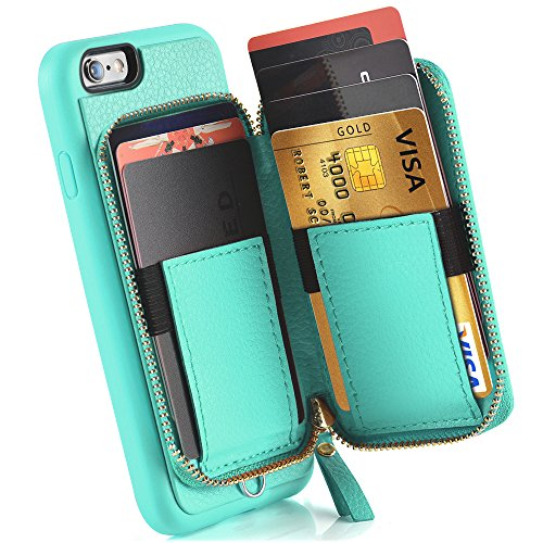 iPhone 6 Wallet Case, iPhone 6 Case with Card Holder, ZVE iPhone 6 Case with Credit Card Holder Slot & Zipper Wallet Money Pockets, Protective Cover for Apple iPhone 6 /6S 4.7 inch - Mint Green by ZVEdeng (Image #3)