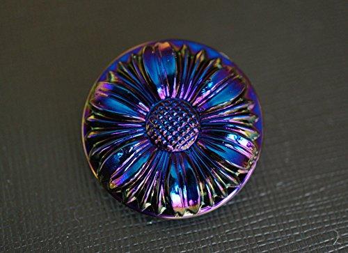 Hand Made Art Czech Glass Button Flower Dark Blue, size 12'', 28mm, 1pc